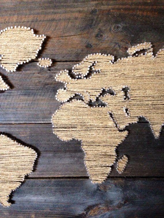 Monde carte String Art par KarasCornerShop sur Etsy