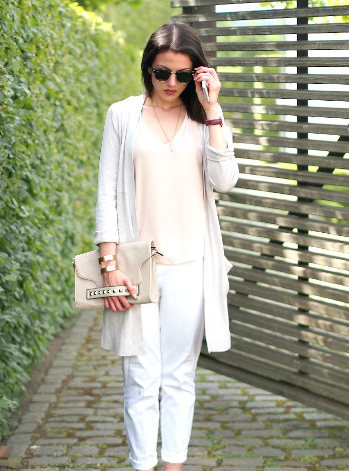grauer Longcardigan, rose Top