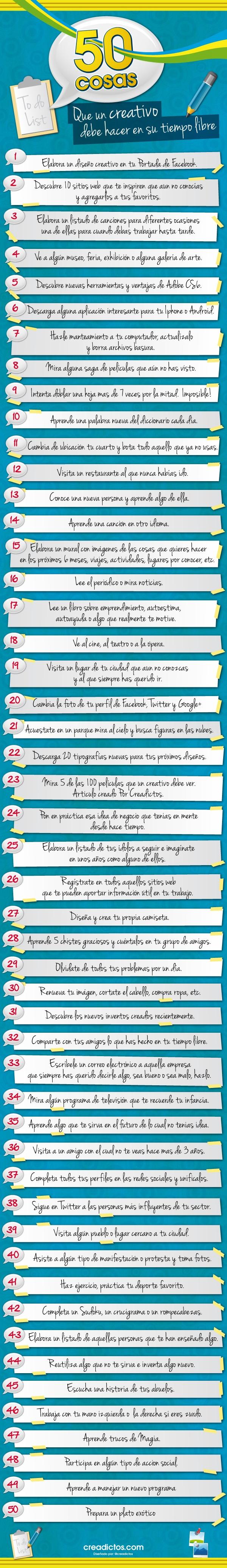 50 cosas que un creativo debe hacer en su tiempo libre #Infografia