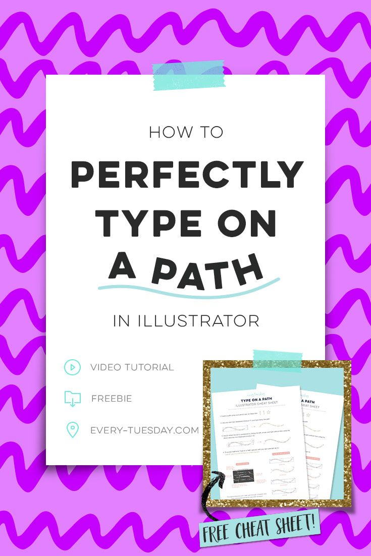 How to perfectly type on a path using Adobe Illustrator! Includes free cheat sheet!