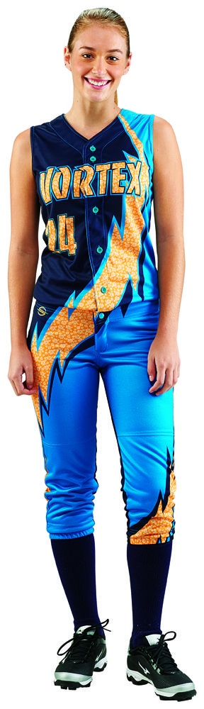 Thunderbolt ProSphere fully sublimated full button down Softball jersey with pattern fills