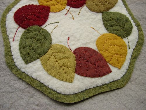 Fall Leaves Candle Mat.