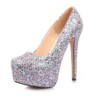 bombas de couro envernizado plataforma sapatos stiletto calcanhar das mulheres de escritório / sapatos de festa – BRL R$ 198,33