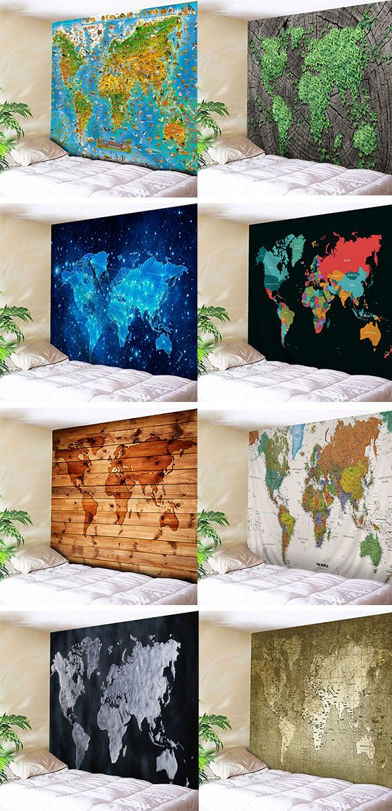 home decor ideas:World Map Tapestry