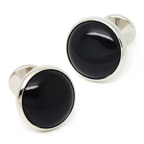 Black Onyx Round Mens Cufflinks