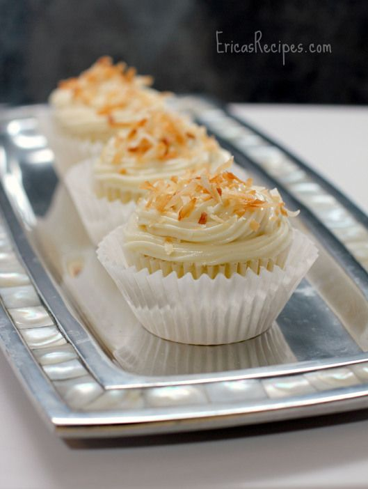 Pineapple-Coconut Cupcakes with Honey Cream Cheese Frosting | EricasRecipes.com