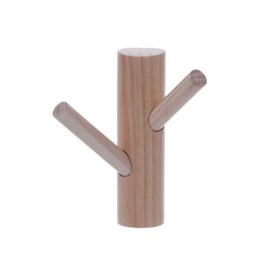 Two peg wall mounted hat rack natural
