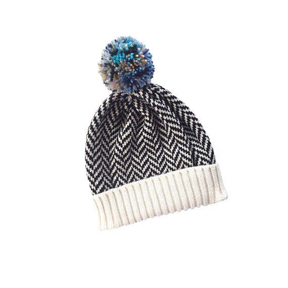 Men's beanie, knitted beanie hat, pompom beanie