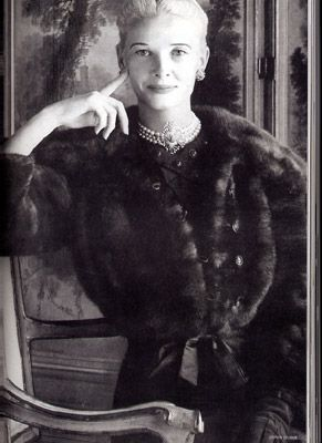 Dressed by Mainbocher for a 1956 Town & Country feature; photo is in John Loring's Tiffany in Fashion.
