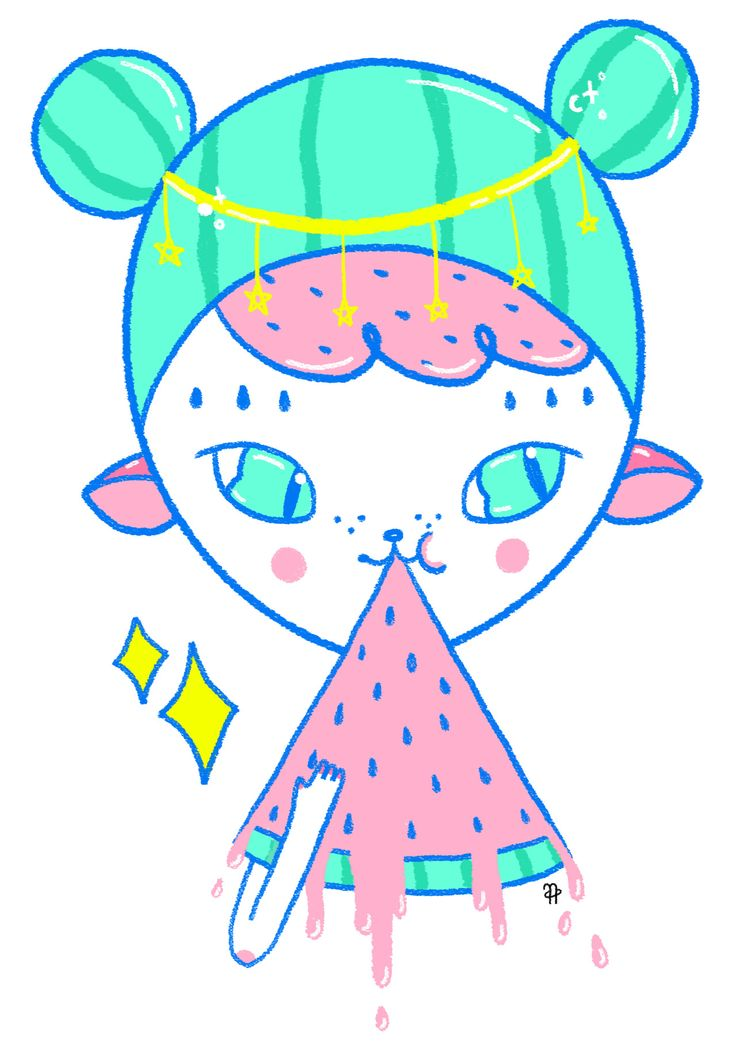 ✧ N A U T A ✧ #nauta #nauta1992 #adobe #photoshop #wacom #illustration #ilustración #dibujo #fluor #pastel #color #cosmos #space #galaxy #universe #harajuku #girl #watermelon #stars