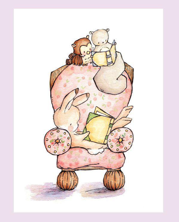 Children Art. The Pink Reading Chair. PRINT 8X10. Nursery Art Home Decor