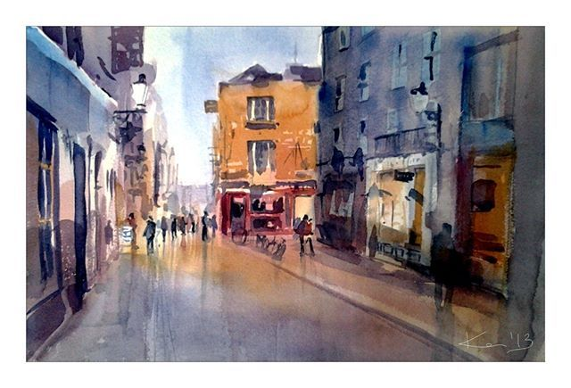 'Temple Street'  #watercolor I dug out this #painting while cleaning my #studio during the week. In three weeks time I will be displaying my paintings at #ArtSource in RDS, stand A28, hope my #Dublin followers will come and say hi! P.S. This painting is available for a #reduced price, pm me if interested.  Weekend! Yes!!!🌸🌞😊🎉🎈🌀🌬️