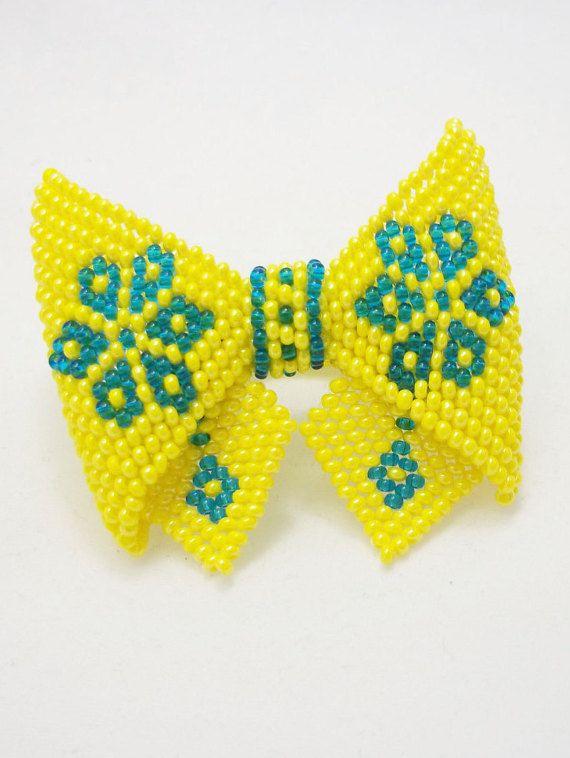 FREE SHIPPING. yellow blue scrunchy yellow by UkrainianBeadJewelry