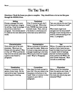 Four tic-tac-toe boards of activities that can be used with any novel. Designed for a class which reads independently every night with the i...