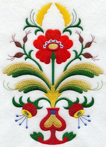 """With beauty and grace, Nordic blossoms are colorful and shapely. Sweden's """"rosnaling"""" (related to Norway's """"rosemaling"""") is evident in the symmetry and simple flourishes of flowers, buds, and vines."""