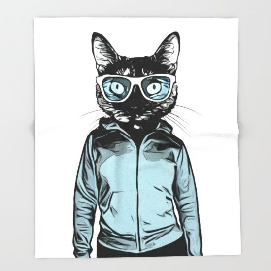 Our seriously soft throw blankets are available in three sizes and feature vividly colored artwork on one side. Made of 100% polyester and sherpa fleece, these might be the softest blankets on the planet. Digital illustration of a cat wearing sunglasses and a hoodie (on a human, female body) looking cool. #cat #kitty #girl #woman #illustration #digital #cool #throwblanket #blanket #homedecor