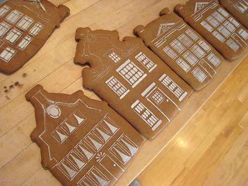 Two dozen dutch canal house gingerbread facades.