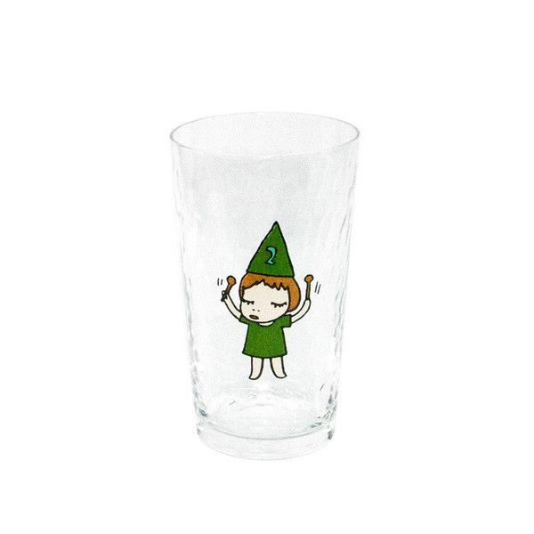 The glass has a beautiful, rippled pattern and features little girl drumming along to her own tune. Created by Yoshitomo Nara.