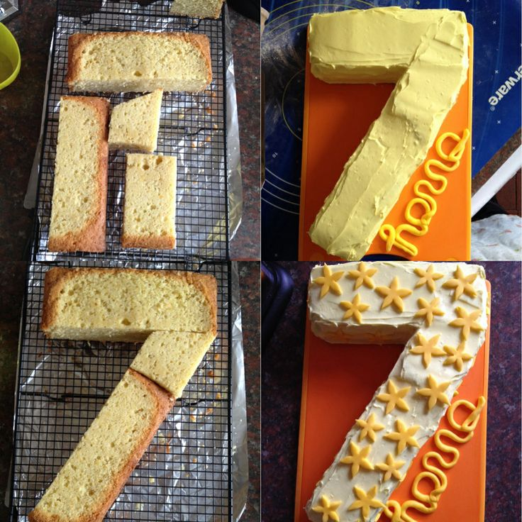 How To Make A Number 7 Cake In 2019 7th Birthday Cakes