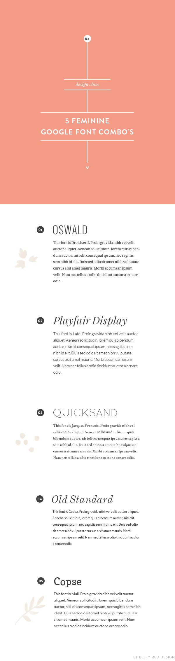 5 feminine google font combinations for your blog design | Betty Red Design