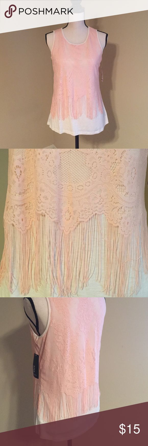 ANA petite S pink ivory fringe tank NWT Super cute and fun! Pink fringe details over a cream tank. Size PS. Outer shell is nylon inner tank is viscose spandex a.n.a Tops Tank Tops