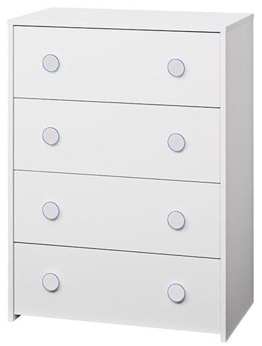 Komoda dziecięca COMBEE 4S      Nowoczesna komoda do pokoju dziecka. Wyposażona w cztery szuflady. Najniższa z nich wysuwana na kółkach, dzięki czemu może służyć jako np. pojemnik na zabawki.