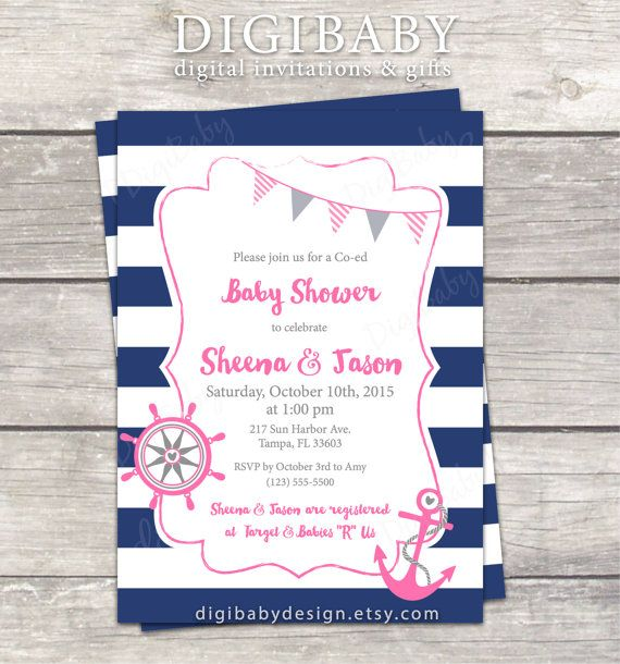 Nautical anchor baby girl baby shower invitations in pink and navy by DigiBabyDesign