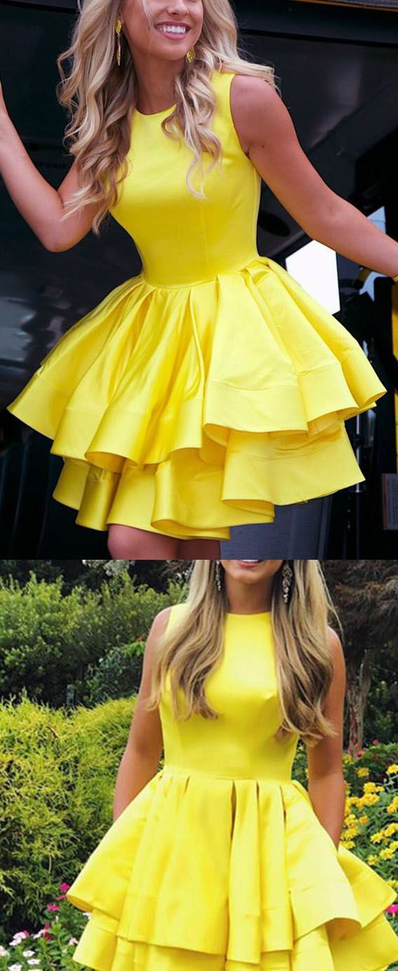 Bright Yellow Short Dresses Homecoming Gown For Junior 8th Graduation Gown Short Yellow Dress Yellow Dress Outfit Yellow Dress Juniors [ 1386 x 569 Pixel ]