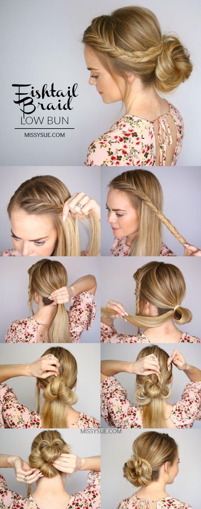 awesome fishtail braid low bun hair tutorial... by http://www.danaz-haircuts.xyz/hair-tutorials/fishtail-braid-low-bun-hair-tutorial/