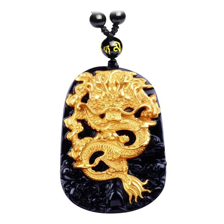 Wholesale Gold Natural Black Obsidian Carving Dragon Lucky Amulet Pendant For Women Men pendants Gift Jewelry