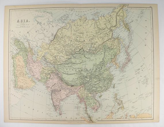 1884 A C Black Asia Map, Middle East Map, Asia Gift for Friend, Unique Wedding Gift for Couple, China Map Siberia, Asian Office Decor available from OldMapsandPrints.Etsy.com #AsiaAntiqueMap #OriginalAntiqueAsiaMap #MiddleEastMap