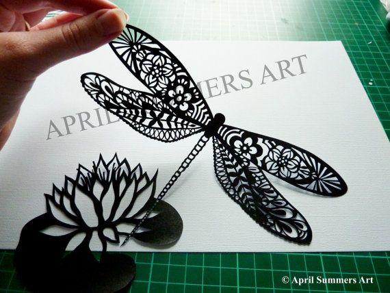 PERSONAL Mr Dragonfly Digital DIY Papercutting by AprilSummersArt, £8.00