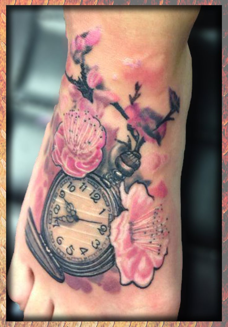 pocket watch tattoo with blossom - Google Search