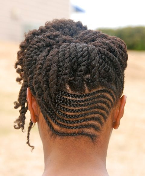 Cornrows And Twists Combo Updo - http://www.blackhairinformation.com/community/hairstyle-gallery/updos/cornrows-twists-combo-updo/ #updo #braids #protectivestyle