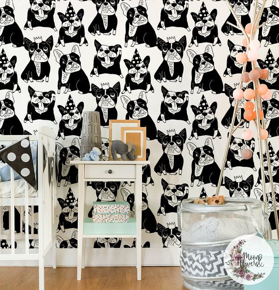 Happy Dogs Removable Wallpaper Animals Wall Mural Quadrupeds Etsy Kid Room Decor Removable Wallpaper Removable Wall Murals