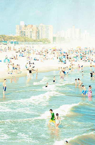 Large Wall Art Beach Photography, Coney Island Beach Print, Diptych