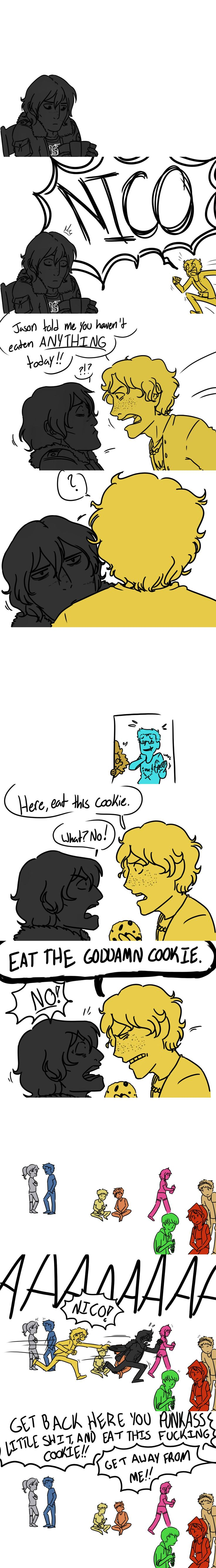 If you don't eat something I'm going to sHOVE AN ENTIRE BRISKET DOWN YOUR THROAT will solace nico di angelo fanart