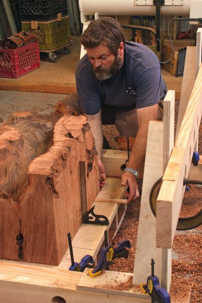 Yes, that is Nick Offerman doing stuff with his hands and it makes him very attractive to a girl like me. Router Jig Turns Stumps into Beautiful Side Tables - Fine Woodworking Article