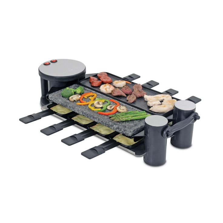 The solid, sturdy design of this eight-person raclette from Swissmar, makes this a great accessory. This party grill is perfect for inviting friends over to share stories over drinks while creating pe