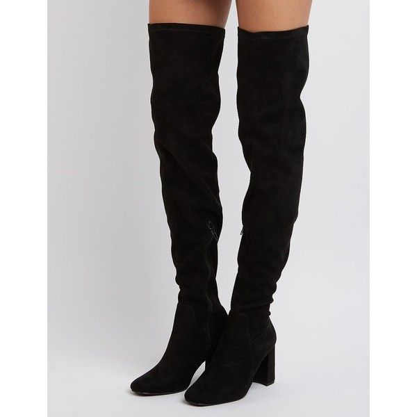 Charlotte Russe Square Toe Over-The-Knee Boots ($50) ❤ liked on Polyvore featuring shoes, boots, black, black boots, over knee boots, charlotte russe, charlotte russe boots and over the knee boots