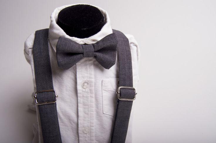 Grey Bow Tie & Suspenders Set  Baby Toddler Child by DapperGent, $40.00