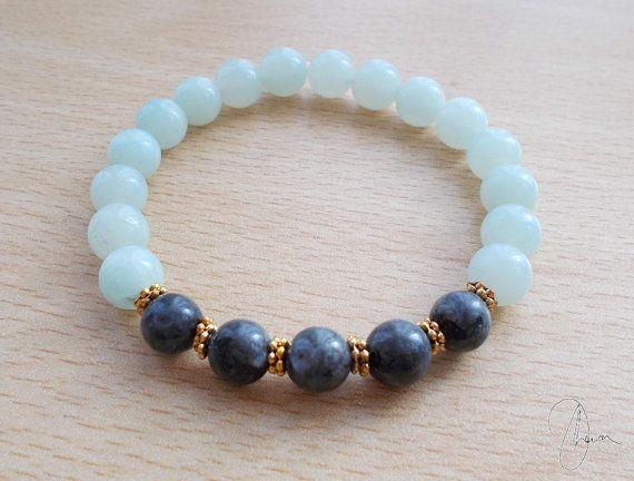 Amazonite & Larvikite Yoga Bracelet  Gemstone by DharaJewellery