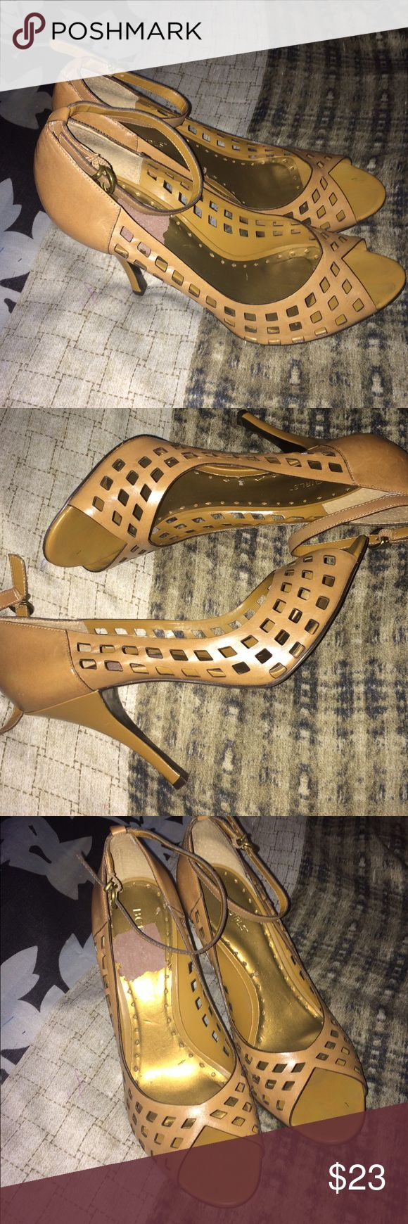 BCBG tan high heel sandals Very cute sandals leather upper made in Brazil. These have been worn a couple times and have a couple flaws seen on pictures. One tiny scratch on the right heel and the skin came off on the part of the insole from taking off the sticker tag. Don't like the price? Feel free to make a reasonable offer. 😉 BCBGirls Shoes Heels