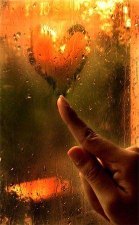 осень, дождь, мокрое окно, рисовать на запотевшем стекле