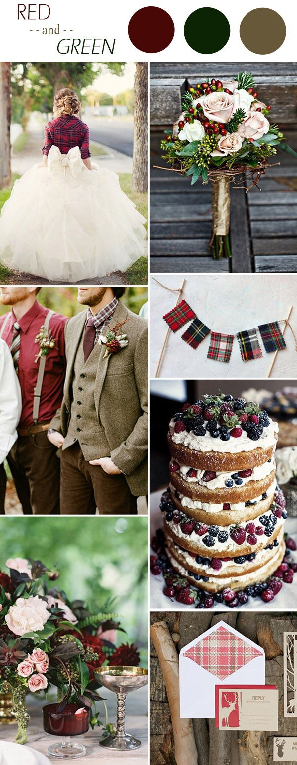 christmas inspired red and green winter wedding colors ideas 2015 -repinned from LA County, California wedding minister https://OfficiantGuy.com