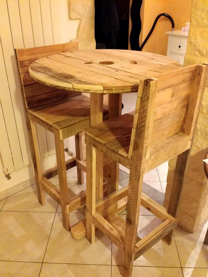 2 People Pallet and Spool Wheel Party Set - 130+ Inspired Wood Pallet Projects | 101 Pallet Ideas - Part 12