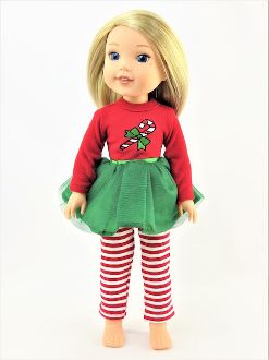 Fits Wellie Holiday Red WELLIE size Candy Cane outfit