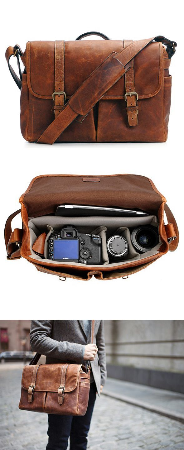 Cognac Camera Messenger Bag @Ona Siurua