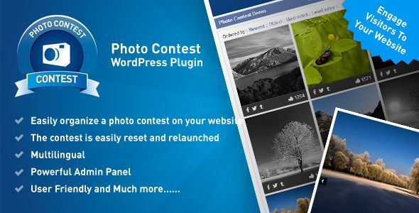 Photo Contest Wordpress Plugin   http://codecanyon.net/item/photo-contest-wordpress-plugin/8320636?ref=damiamio       Thanks to Photo Contest WordPress Plugin you can easily organize a photo contest on your website, or create an independent website just for the purpose of the photo contest. All you need is WordPress and our plugin. Involve your users in what's happening on your website and attract others who shall be interested in registering with you thanks to the photo contest. Thanks to…