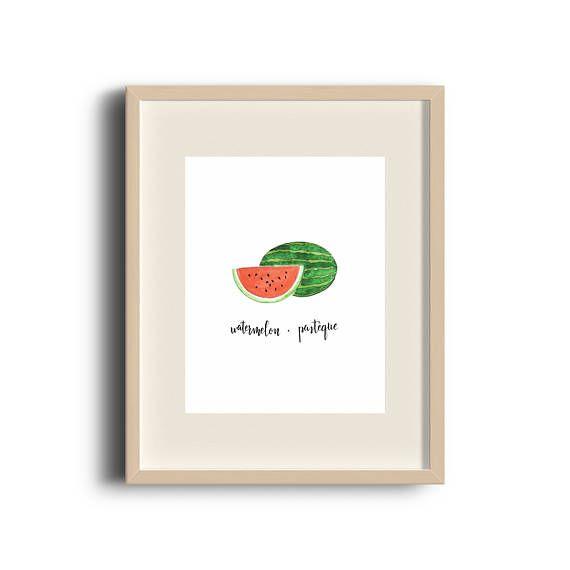 Watermelon | Watercolour Print | Watermelon Art | Watermelon Painting | Art Print | Fruit Art | Etsy Store | by Élana Camille #ElanaCamilleCreates